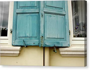 Canvas Print featuring the photograph Blue Shutters Rudesheim by KG Thienemann