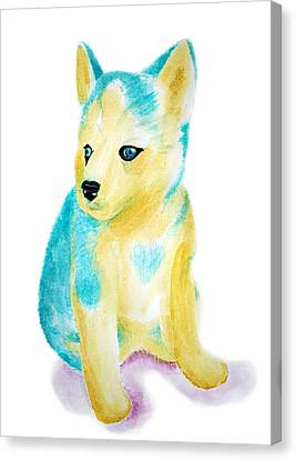 Blue Siberian Husky Canvas Print