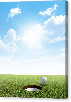 Sink Hole Canvas Print - Blue Sky And Putting Green by Allan Swart