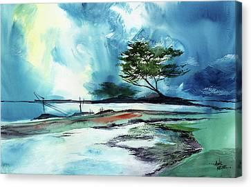 Canvas Print featuring the painting Blue Sky by Anil Nene