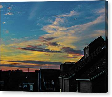 Blue Sky Colorful Sunset Canvas Print by Cesar Vieira