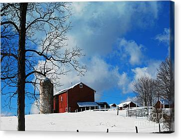 Canvas Print featuring the photograph Blue Sky Farm by Lila Fisher-Wenzel