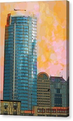 Canvas Print featuring the photograph Blue Skyscraper Seattle by Yulia Kazansky