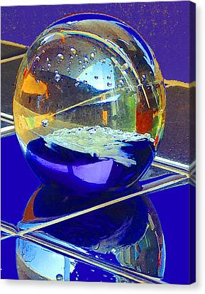 Canvas Print featuring the digital art Blue Sphere by Jana Russon