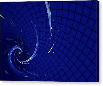 Blue Spiral On Checked Background Canvas Print by Natalia Danchenko