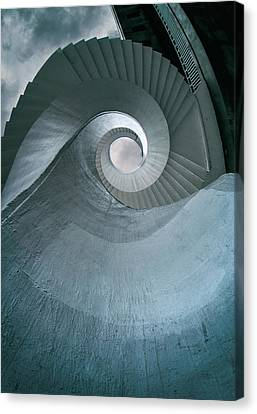 Canvas Print featuring the photograph Blue Spiral Stairs by Jaroslaw Blaminsky
