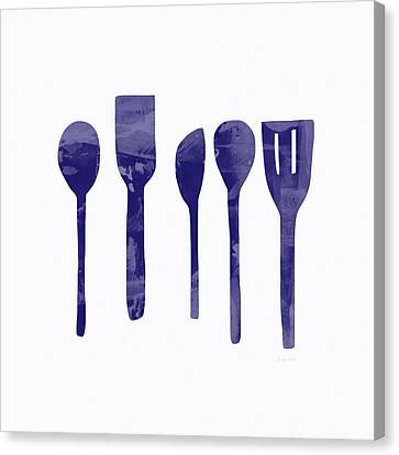 Blue Spoons- Art By Linda Woods Canvas Print