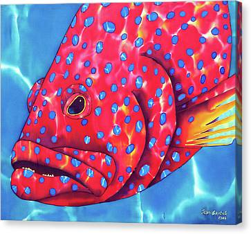Blue Spotted Red Coral Grouper Fish Canvas Print by Daniel Jean-Baptiste