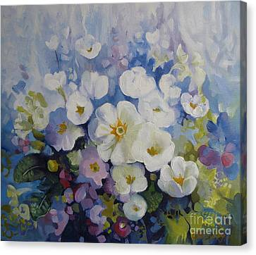 Canvas Print featuring the painting Blue Spring by Elena Oleniuc