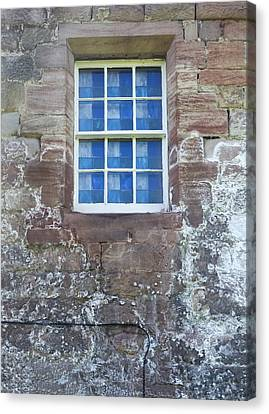 Canvas Print featuring the photograph Blue Squares In The Castle Window by Christi Kraft