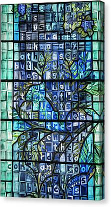 Canvas Print - Blue Stained Glass by Jean Noren