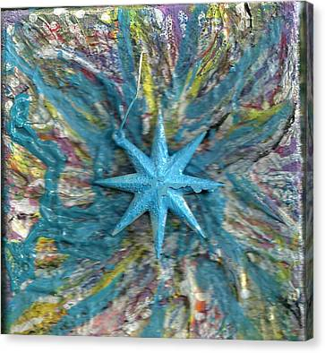 Blue Star Shining At Me Canvas Print by Anne-Elizabeth Whiteway