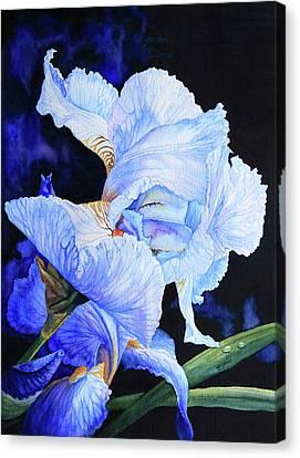 Dew Drops Canvas Print - Blue Summer Iris by Hanne Lore Koehler