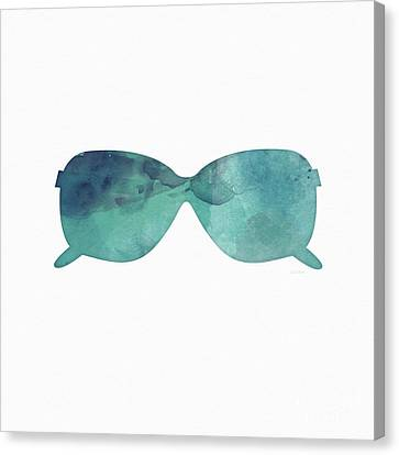 Blue Sunglasses 1- Art By Linda Woods Canvas Print by Linda Woods