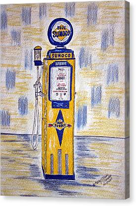 Canvas Print featuring the painting Blue Sunoco Gas Pump by Kathy Marrs Chandler