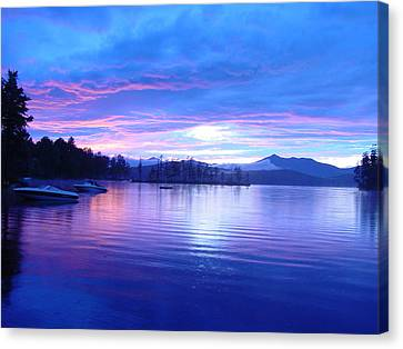 Blue Sunset Canvas Print by Katherine Huck Fernie Howard