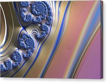 Canvas Print featuring the digital art Blue Swirly Fractal 2 by Bonnie Bruno