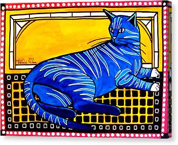 Canvas Print featuring the painting Blue Tabby - Cat Art By Dora Hathazi Mendes by Dora Hathazi Mendes