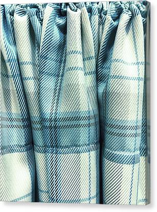 Blue Tartan Fabric Canvas Print by Tom Gowanlock