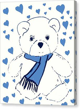 Blue Teddy Bear Love Canvas Print by Sonya Chalmers