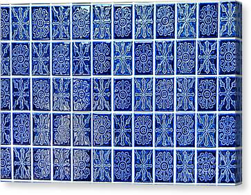 Blue Tile Wall Canvas Print by Olivier Le Queinec