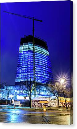 Canvas Print featuring the photograph Blue Tower Rising by Randy Scherkenbach