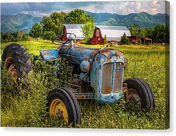 Blue Tractor At The Twin Barns Canvas Print