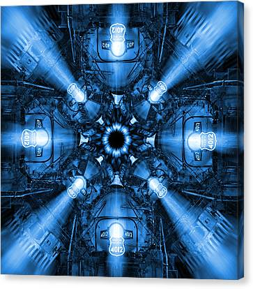 Blue Train Abstract 2 Canvas Print by Mike McGlothlen