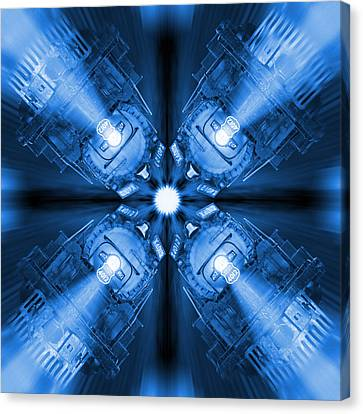 Blue Train Abstract 3 Canvas Print by Mike McGlothlen