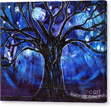 Blue Tree At Night Canvas Print by Genevieve Esson