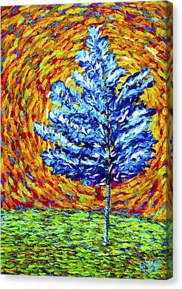 Seurat Canvas Print - Blue Tree by Roland Saldivar