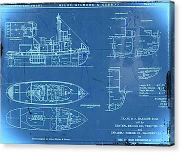Blue Tugboat Blueprints Canvas Print