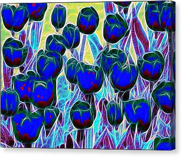 Blue Tulips Canvas Print by Alexey Bazhan