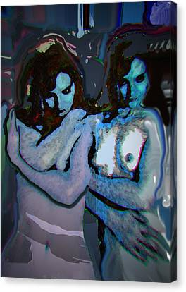 Blue Twins Canvas Print by Noredin