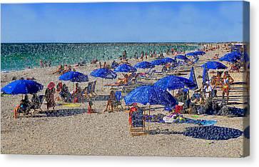 Blue Umbrella  Beach Canvas Print by David Lee Thompson