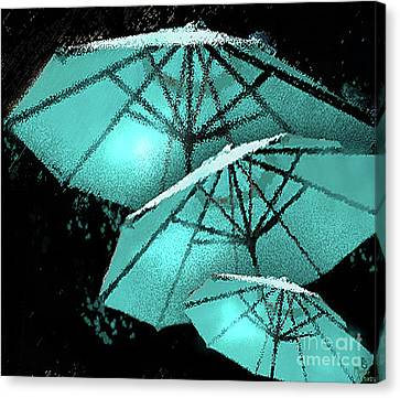 Blue Umbrella Splash Canvas Print