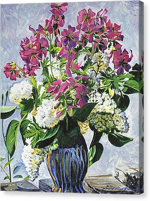 Blue Vase Arrangement Canvas Print