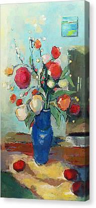 Pallet Knife Canvas Print - Blue Vase by Becky Kim