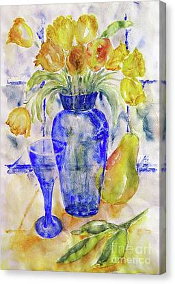 Canvas Print featuring the painting Blue Vase by Jasna Dragun