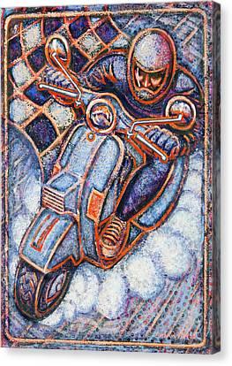 Blue Vespa Canvas Print by Mark Jones