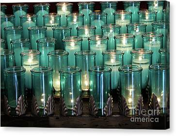 Canvas Print - Blue Votives Quebec by Linda Queally