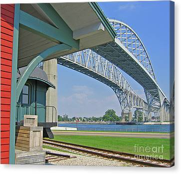 Blue Water Bridge And Edison Depot Canvas Print