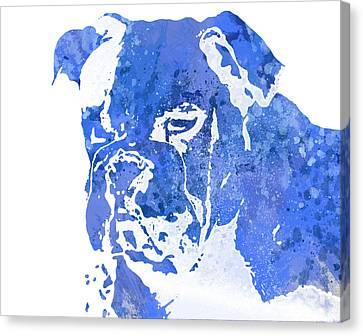 Blue Watercolor Bulldog Canvas Print