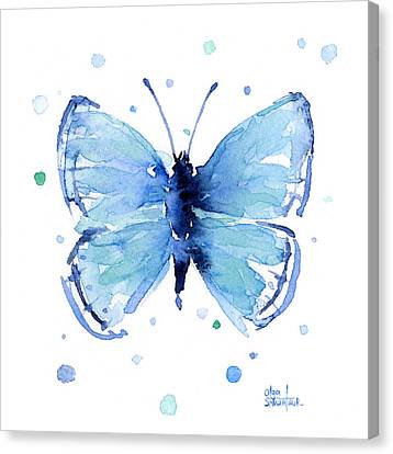 Blue Watercolor Butterfly Canvas Print by Olga Shvartsur