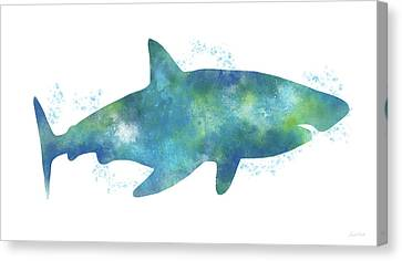 Sea Creatures Canvas Print - Blue Watercolor Shark- Art By Linda Woods by Linda Woods