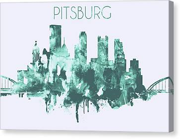 Skyline Canvas Print - Blue Watercolor Skyline Of Pittsburgh by Dim Dom