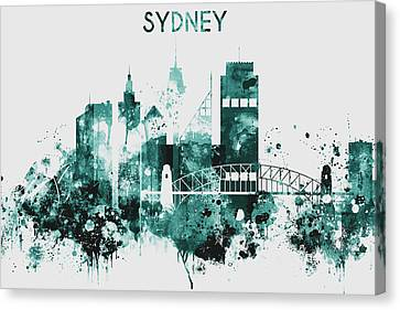 Blue Watercolor Sydney Canvas Print by Dim Dom