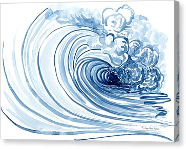 Loose Watercolor Canvas Print - Blue Wave Modern Loose Curling Wave by Audrey Jeanne Roberts