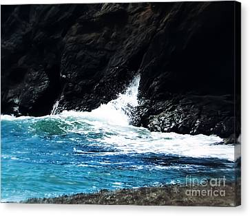 Blue Waves Crashing Canvas Print by Heather Joyce Morrill