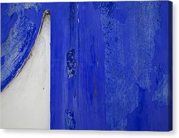 Blue Weathered Wall Of Old World Europe Canvas Print